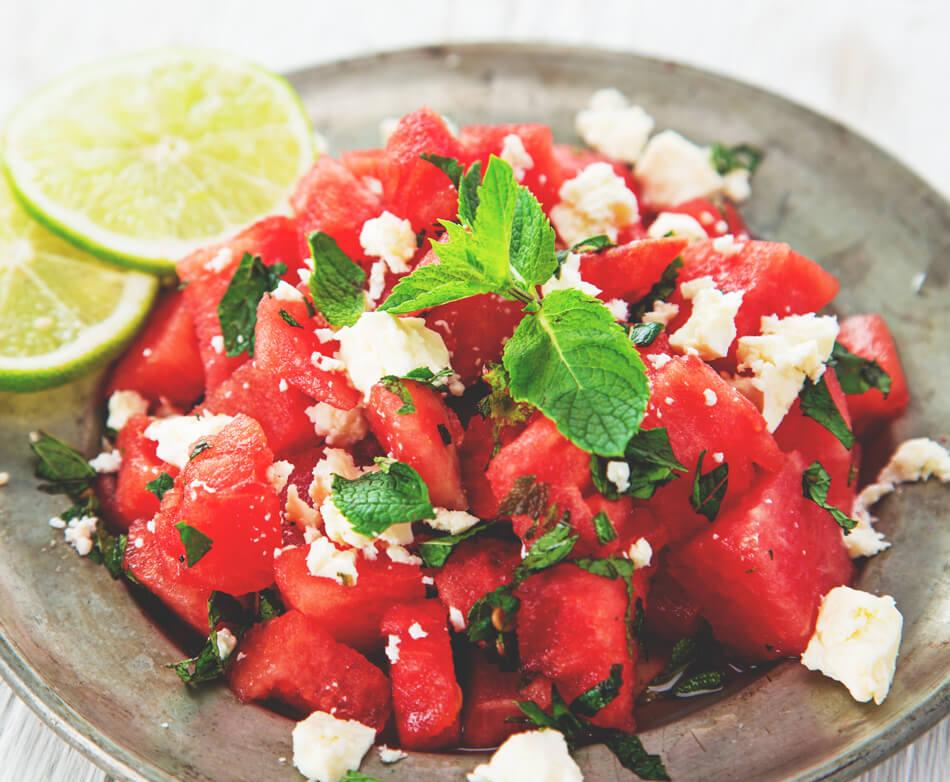 wassermelone feta salat rezept essen sommer
